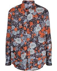 dunkelgraues bedrucktes Langarmhemd von McQ