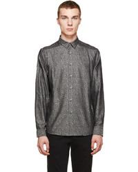 dunkelgraues bedrucktes Langarmhemd von Paul Smith