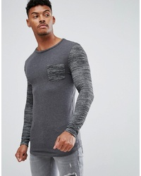 dunkelgraues bedrucktes Langarmshirt von ASOS DESIGN