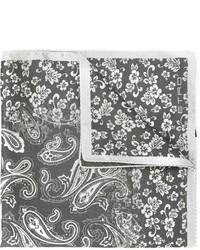 dunkelgraues bedrucktes Seide Einstecktuch von Etro