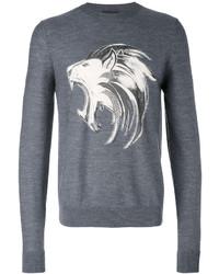 dunkelgraues bedrucktes Sweatshirt