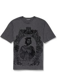 dunkelgraues bedrucktes T-Shirt mit einem Rundhalsausschnitt