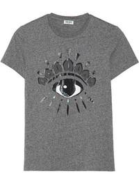 dunkelgraues bedrucktes T-Shirt mit einem Rundhalsausschnitt von Kenzo
