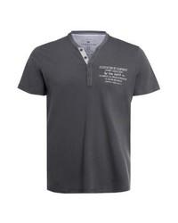 dunkelgraues bedrucktes T-shirt mit einer Knopfleiste von Tom Tailor