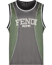 dunkelgraues bedrucktes Trägershirt von Fendi