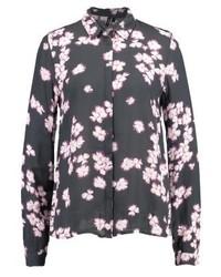 dunkelgraues Businesshemd mit Blumenmuster von Vero Moda