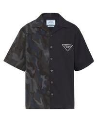 dunkelgraues Camouflage Kurzarmhemd von Prada