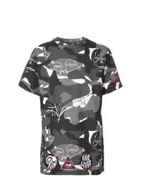 dunkelgraues Camouflage T-Shirt mit einem Rundhalsausschnitt