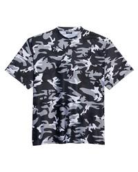 dunkelgraues Camouflage T-Shirt mit einem Rundhalsausschnitt von Balenciaga