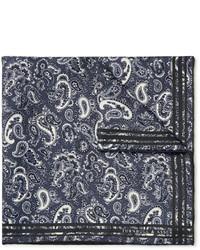 dunkelgraues Einstecktuch mit Paisley-Muster von Turnbull & Asser