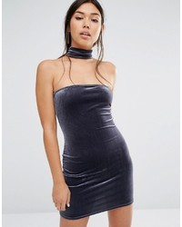 dunkelgraues figurbetontes Kleid von Boohoo