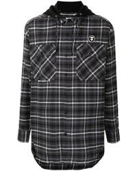 dunkelgraues Flanell Langarmhemd mit Schottenmuster von AAPE BY A BATHING APE