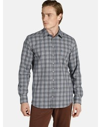dunkelgraues Flanell Langarmhemd mit Schottenmuster von Charles Colby