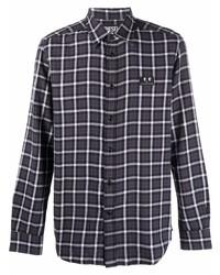 dunkelgraues Flanell Langarmhemd mit Schottenmuster von Diesel