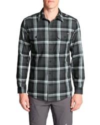 dunkelgraues Flanell Langarmhemd mit Schottenmuster von Eddie Bauer