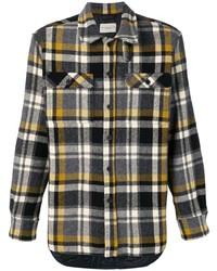 dunkelgraues Flanell Langarmhemd mit Schottenmuster von Holland & Holland