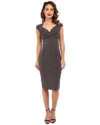 dunkelgraues gepunktetes figurbetontes Kleid