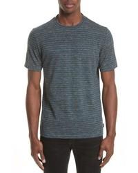 dunkelgraues horizontal gestreiftes T-Shirt mit einem Rundhalsausschnitt