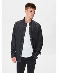 dunkelgraues Jeanshemd von Selected Homme