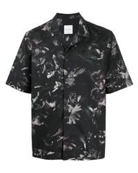 dunkelgraues Kurzarmhemd mit Blumenmuster von Paul Smith