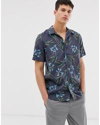 dunkelgraues Kurzarmhemd mit Blumenmuster von PS Paul Smith