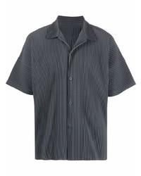 dunkelgraues Kurzarmhemd von Homme Plissé Issey Miyake
