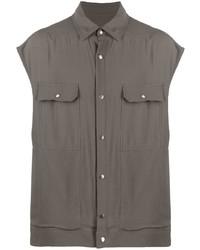 dunkelgraues Kurzarmhemd von Rick Owens