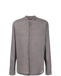 dunkelgraues Langarmhemd mit Vichy-Muster