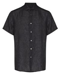 dunkelgraues Leinen Kurzarmhemd von Ermenegildo Zegna