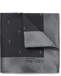 dunkelgraues Seide Einstecktuch von Alexander McQueen