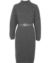dunkelgraues Strick Sweatkleid von Fendi