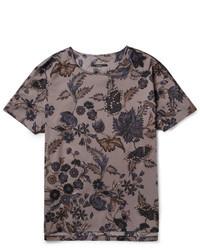 dunkelgraues T-Shirt mit einem Rundhalsausschnitt mit Blumenmuster von Gucci