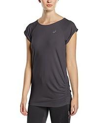 dunkelgraues T-Shirt mit einem Rundhalsausschnitt von Asics