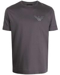 dunkelgraues T-Shirt mit einem Rundhalsausschnitt von Emporio Armani