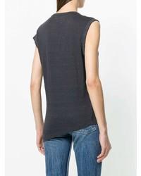 dunkelgraues T-Shirt mit einem Rundhalsausschnitt von Isabel Marant Etoile