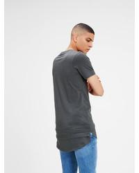 dunkelgraues T-Shirt mit einem Rundhalsausschnitt von Jack & Jones Einfarbiges Regular Fit T-Shirt