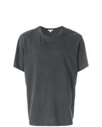 dunkelgraues T-Shirt mit einem Rundhalsausschnitt von James Perse