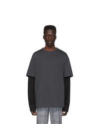 dunkelgraues T-Shirt mit einem Rundhalsausschnitt von Juun.J