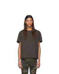 dunkelgraues T-Shirt mit einem Rundhalsausschnitt von R13