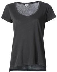dunkelgraues T-Shirt mit einem V-Ausschnitt