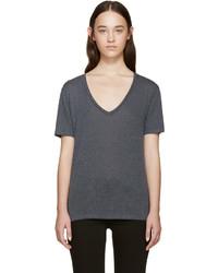 dunkelgraues T-Shirt mit einem V-Ausschnitt von Rag & Bone