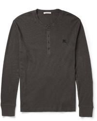 dunkelgraues T-shirt mit einer Knopfleiste von Burberry
