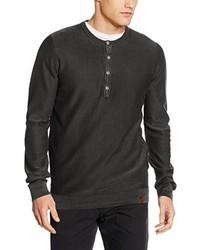 dunkelgraues T-shirt mit einer Knopfleiste von camel active
