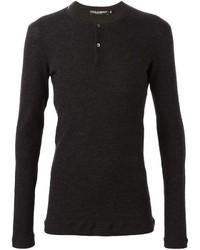 dunkelgraues T-shirt mit einer Knopfleiste von Dolce & Gabbana