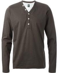 dunkelgraues T-shirt mit einer Knopfleiste von Eleventy