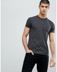 dunkelgraues T-shirt mit einer Knopfleiste von French Connection