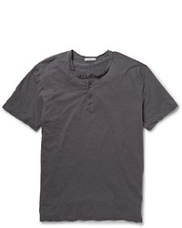 dunkelgraues T-shirt mit einer Knopfleiste von James Perse