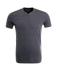 dunkelgraues T-shirt mit einer Knopfleiste von Celio