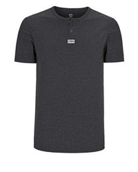 dunkelgraues T-shirt mit einer Knopfleiste von Jan Vanderstorm