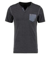 dunkelgraues T-shirt mit einer Knopfleiste von Produkt